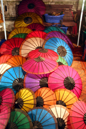Thai silk umbrellas