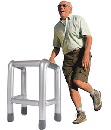 This handy inflatable walker will make sure your bar boy's customer for the night's lack of ambulatory skills will not prevent the pair from making a trip to the closest ATM.