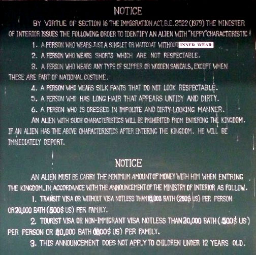 Thailand's immigration rules for border crossings are from a past era but are still enforced today. Obviously, rules of grammar are not quite as important.