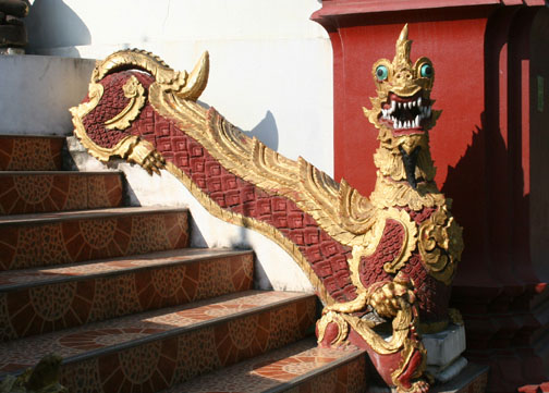 Though sometimes it's easier to identify a ladyboy than which mythical creature is guarding that wat.