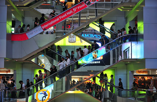 Riding the escalators at MBK can be almost as much fun as riding a roller coaster. But not quite as safe.