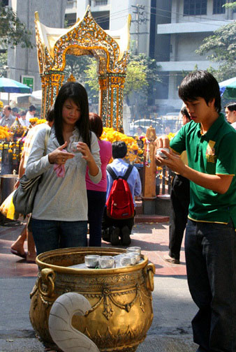 Bangkok's Erawan Shrine is a good place for merit making. It ain't bad for checking out local eye candy either.