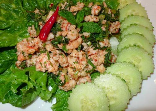 Larb is known as an exceptionally hot and spicy dish. Local tradition says it's food for a man  -  if you're a strong, virile man you should be able to eat larb.