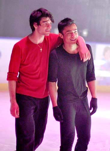 Amodio with girlfriend Elena Ilinykh. Ooops. Nope, that's also not gay Stephane Lambiel.
