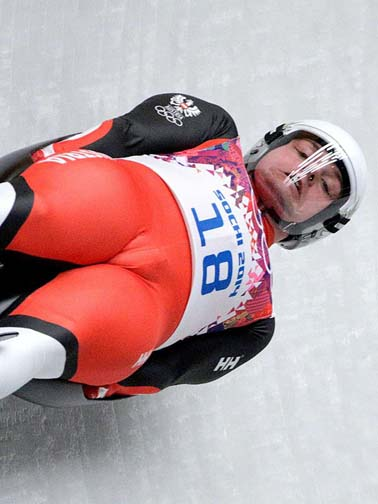 Austria's Daniel Pfister's moose knuckle looks more like a camel toe. But he gets Grade of Execution  points for his last name.