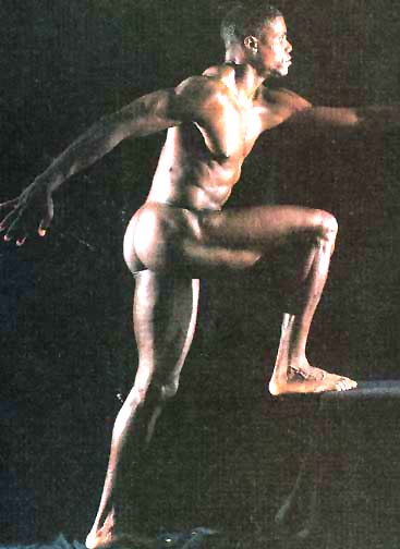 Olympian Carl Lewis posed naked several times. In this one he left the high heels at home.