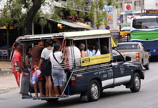 A popular form of public transportation, the buses in Pattaya are not quite the same type of vehicle as a bus is back home.