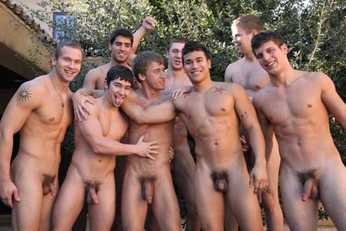 This is not how you hang out with your buddies. It's how you start a gay orgy.