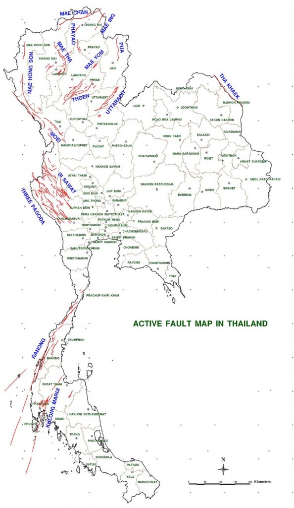 Thailand's Mineral Resources Department's map of the country's earthquake fault areas.