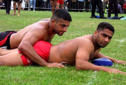 You say kabaddi, I say it looks like a typical day at a bears' bathhouse.