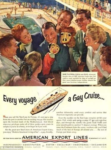 Tickets for a gay cruise is a nice gift. When the on-board entertainment is a guy with puppets, not so much.