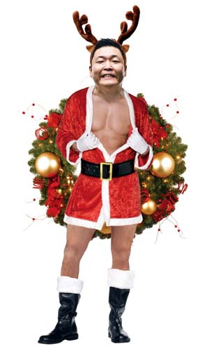 I couldn't find the right naked Santa photo for this post but thought Psy done up for the holidays might just be repulsive enough to do the trick.