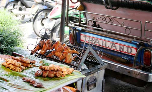 Maybe it's the exhaust fumes, but nothing tastes as delicious as freshly barbequed meat served piping hot off the streets of Bangkok.