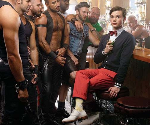 Evidently effeminacy is the new black, even in a leather bar.
