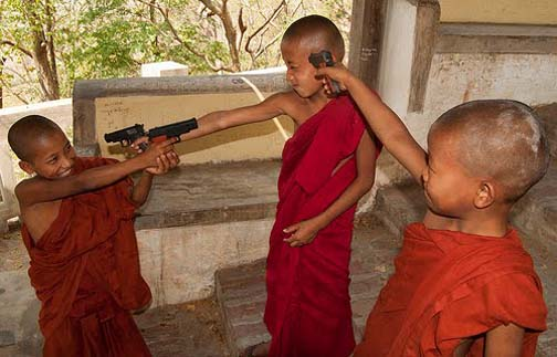 Like all world problems, bad monk behavior can be traced to the violence in movies and television.